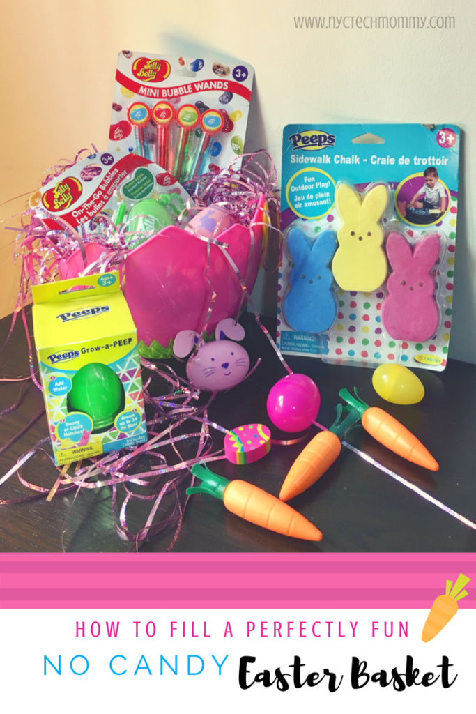 How to fill a perfectly fun no candy easter basket nyc tech mommy no candy easter basket looking for ideas that dont involve candy heres everything you need to fill negle Image collections