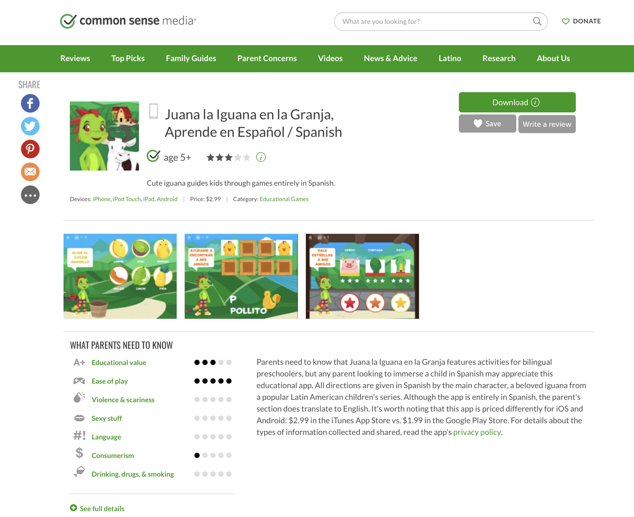 As seen on Common Sense Media - Juana la Iguana Review